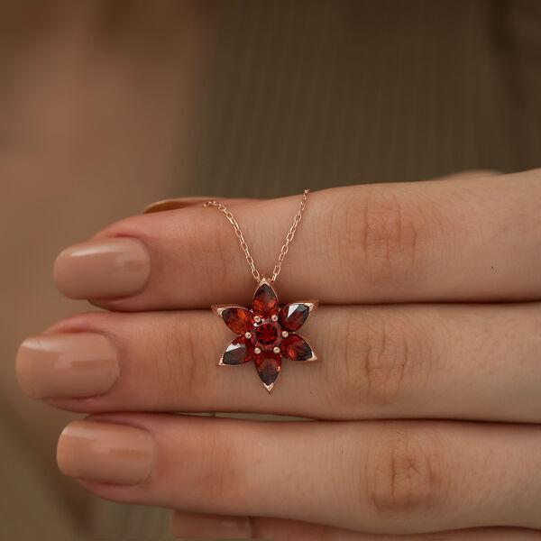 Gümüş Kırmızı Çiçek Kolye