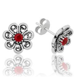 Gumush - Gümüş Kırmızı Telkari Çiçek Çivili Küpe (1)