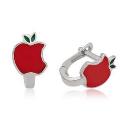 Gumush - Gümüş Kırmızı Elma Çocuk Küpesi