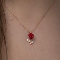 Gümüş Kırmızı Gül Kolye - Thumbnail