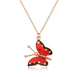 Gumush - Gümüş Kırmızı Kelebek Kolye