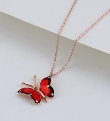 Gumush - Gümüş Kırmızı Kelebek Kolye (1)