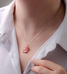 Gümüş Kırmızı Kelebek Kolye - Thumbnail