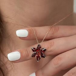 Gumush - Gümüş Kırmızı Lotus Çiçeği Kolye (1)