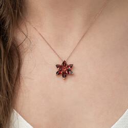 Gümüş Kırmızı Lotus Çiçeği Kolye - Thumbnail