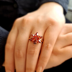 Gumush - Gümüş Kırmızı Lotus Çiçeği Yüzük (1)