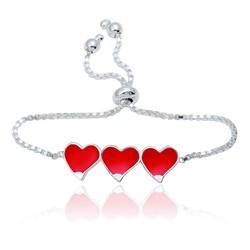 Gumush - Gümüş Kırmızı Üç Kalp Çocuk Bileklik
