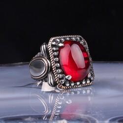 Gumush - Gümüş Kırmızı Zirkon Taşlı Erkek Yüzük