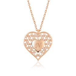 Gumush - Gümüş Kişiye Özel Kalbin İçinde Kalp Bayan Kolye