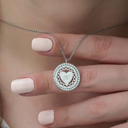 Gümüş Kişiye Özel Sonsuz Kalp Bayan Kolye - Thumbnail