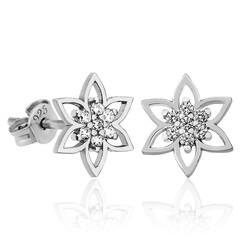 Gumush - Gümüş Kristal Çiçeği Bayan Küpe