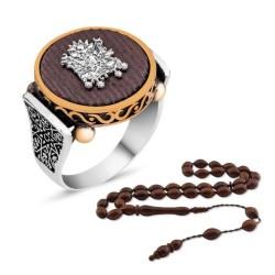 Gumush - Gümüş Kuka Ağacı Osmanlı Arması Yüzük Kombini