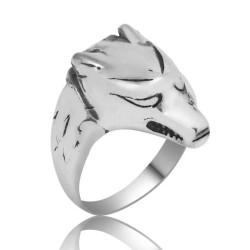 Gumush - Gümüş Kurt Figürlü Erkek Yüzük