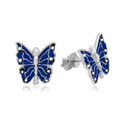 Gumush - Gümüş Lacivert Kelebek Çocuk Küpesi