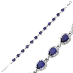 Gumush - Gümüş Lacivert Taşlı Su Yolu Bayan Bileklik