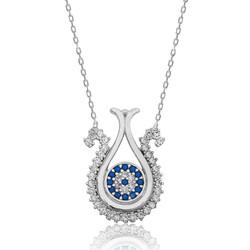 Gumush - Gümüş Nazarlı Lale Bayan Kolye