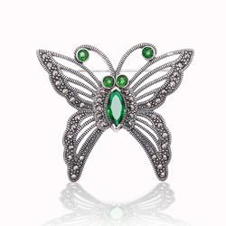 Gumush - Gümüş Markazit Taşlı Kelebek Broş