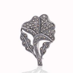 Gumush - Gümüş Markazit Taşlı Yaprak Broş
