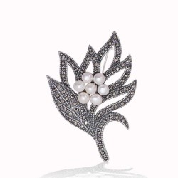Gumush - Gümüş Markazit Taşlı Yaprak İnci Broş