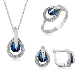 Gumush - Gümüş Mavi Damla Bayan Set