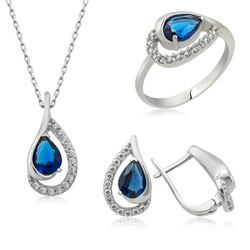 Gumush - Gümüş Mavi Drop Bayan Set