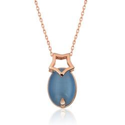 Gumush - Gümüş Mavi Kedi Gözü Taşlı Yıldız Kolye