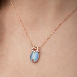 Gümüş Mavi Kedi Gözü Taşlı Yıldız Kolye - Thumbnail