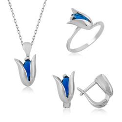 Gumush - Gümüş Mavi Lale Bayan Set