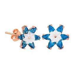 Gumush - Gümüş Mavi Lotus Çiçeği Küpe