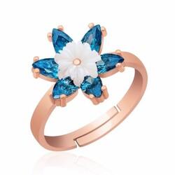Gumush - Gümüş Mavi Lotus Çiçeği Yüzük