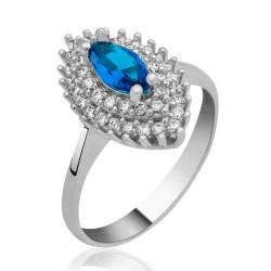 Gumush - Gümüş Mavi Mekik Bayan Yüzük