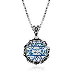 Gumush - Gümüş Mavi Mineli Süleyman Mührü Kolye