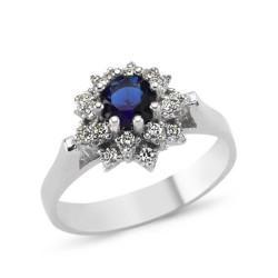Gumush - Gümüş Mavi Çiçek Bayan Yüzük