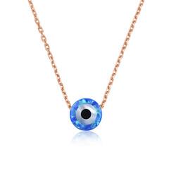 Gumush - Gümüş Mavi Opal Taş Nazar Göz Kolye