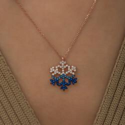 Gumush - Gümüş Mavi Taşlı Kar Tanesi Kolye (1)
