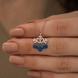 Gümüş Mavi Taşlı Kar Tanesi Kolye - Thumbnail