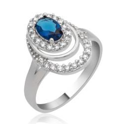 Gumush - Gümüş Mavi Taşlı Oval Bayan Yüzük