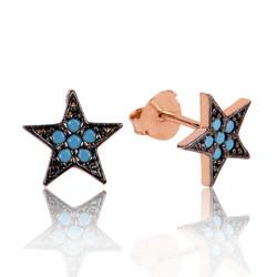 Gumush - Gümüş Mavi Taşlı Yıldız Çivili Küpe