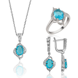 Gumush - Gümüş Mavi Taşlı Bayan Set