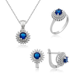 Gumush - Gümüş Mavi Zirkon Taşlı Bayan Set