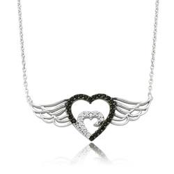 Gumush - Gümüş Melek Kanatlı Kalp Bayan Kolye