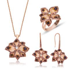 Gumush - Gümüş Menekşe Çiçeği Bayan Set