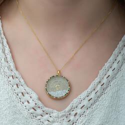 Gümüş Miks Taşlı Esmaül Hüsna Bayan Kolye - Thumbnail