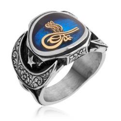 Gumush - Gümüş Mavi Tuğralı Erkek Yüzük