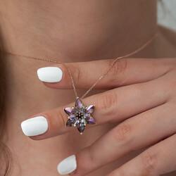 Gümüş Mistik Topaz Lotus Çiçeği Kolye - Thumbnail