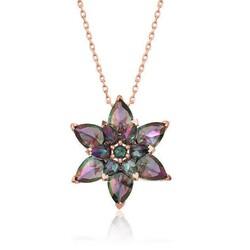 Gumush - Gümüş Mistik Topaz Lotus Çiçeği Kolye