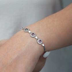 Gümüş Mistik Topaz Taşlı Bileklik - Thumbnail