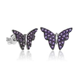 Gumush - Gümüş Mor Kelebek Küpe