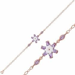 Gumush - Gümüş Lila Lotus Çiçeği Bileklik