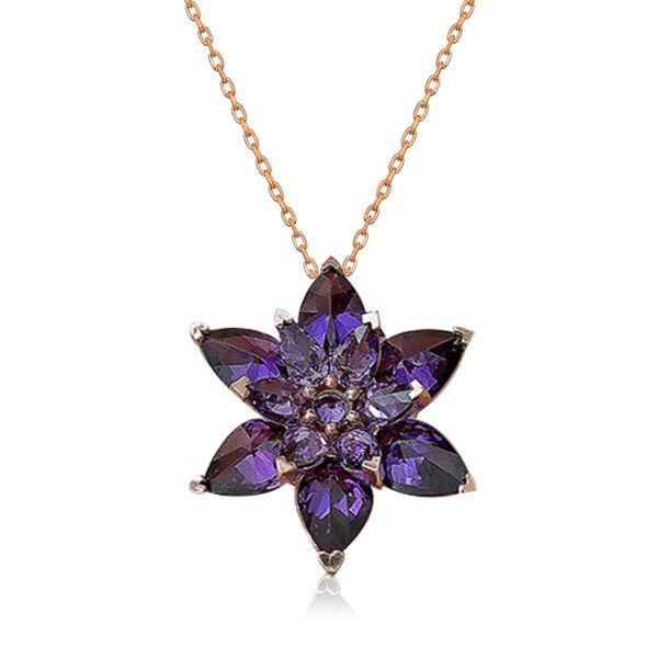 Gümüş Mor Lotus Çiçeği Kolye